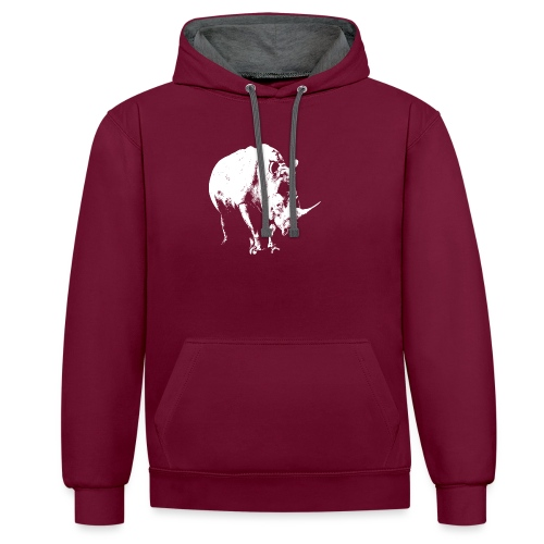 White Rhinoceros (highlights only) - Contrast Colour Hoodie