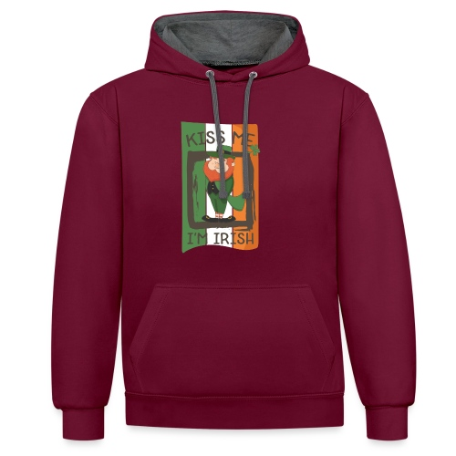 St. Patrick's Day Leprechaun - I'm Irish - Kiss Me - Contrast Colour Hoodie