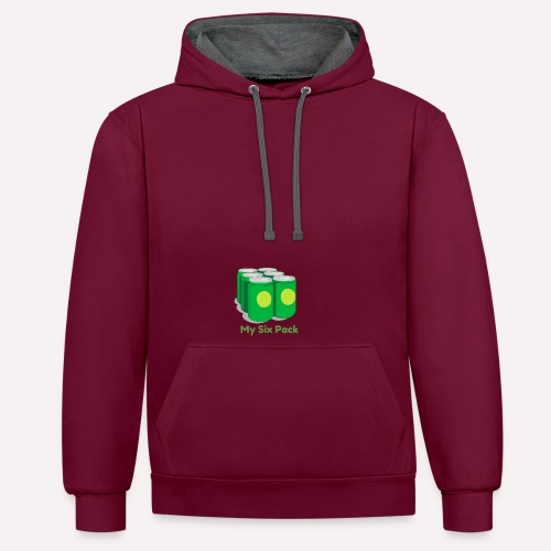 Want A Six Pack? Easy Six Pack Funny Apparel Print - Contrast Colour Hoodie