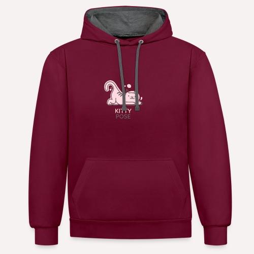 Yoga Pose Kitty Funny Print T-shirt Design - Contrast Colour Hoodie