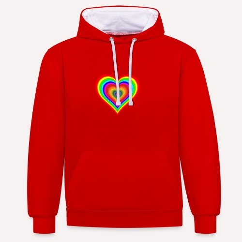 Heart In Hearts Print Design on T-shirt Apparel - Contrast Colour Hoodie