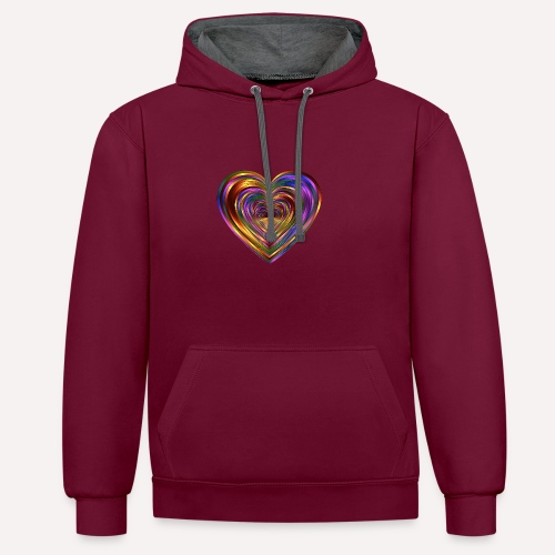 Colorful Love Heart Print T-shirts And Apparel - Contrast Colour Hoodie