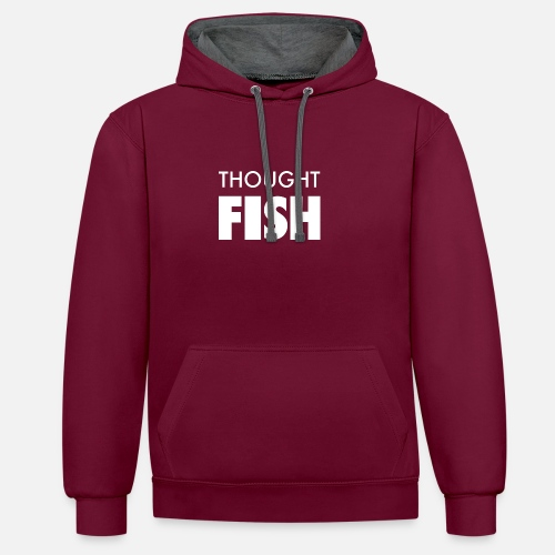 Thoughtfish font logo - Contrast Colour Hoodie