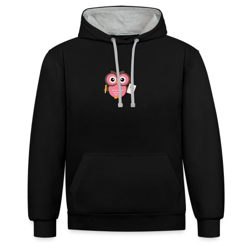 Back to School Owl - Contrast Colour Hoodie