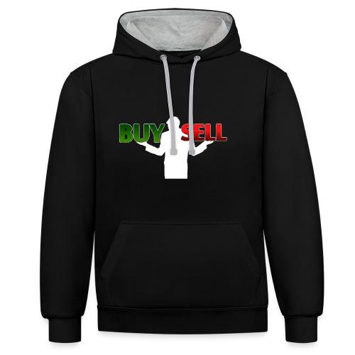 Buy Sell mit weißer Person - verschiedene Farben - Kontrast-Hoodie