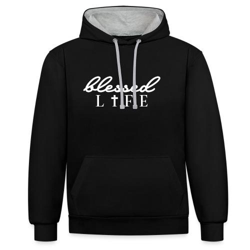 Blessed Life - Jesus Christlich - Kontrast-Hoodie