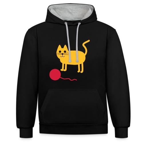 Katze mit Wollknäul - Kontrast-Hoodie