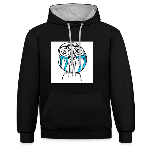 happy-cuteness-overload-l - Contrast Colour Hoodie