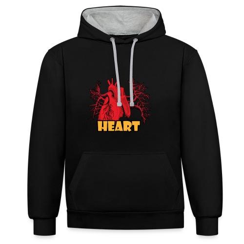HEART - Felpa con cappuccio bicromatica