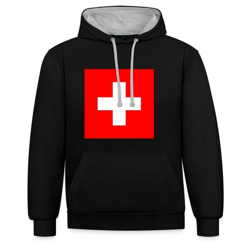 Flag_of_Switzerland - Kontrast-Hoodie