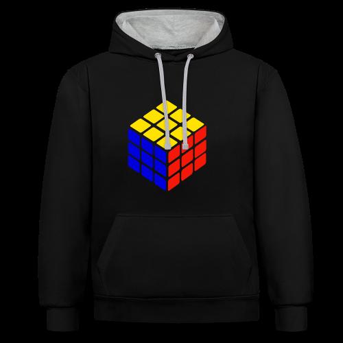blue yellow red rubik's cube print - Contrast hoodie