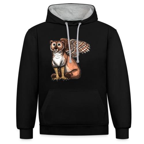 Bear Owl - The Cuter Cousin - Contrast Colour Hoodie