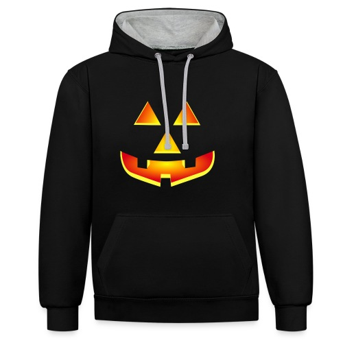 Smiling pumpkin - T Shirt, Halloween, Scary Face - Contrast Colour Hoodie