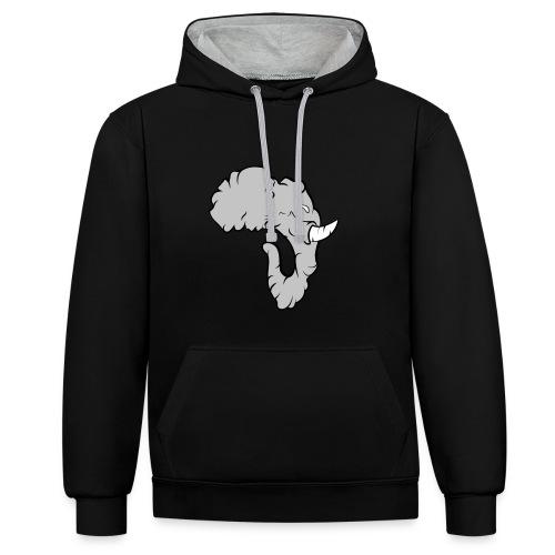 Elefante Perfil - Sudadera con capucha en contraste