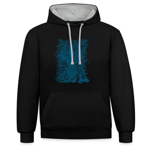 Snake-and-Water-in-Blue - Sudadera con capucha en contraste