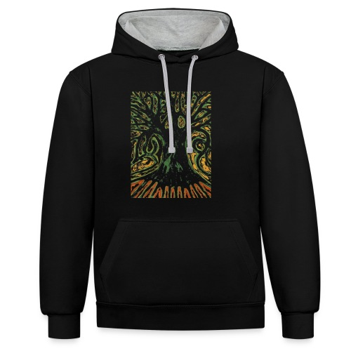 Primitive Tree - Bluza z kapturem z kontrastowymi elementami