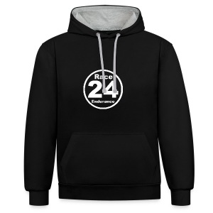 Race24 round logo white - Contrast Colour Hoodie