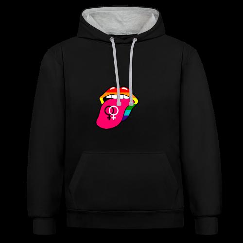 Gay pride regenboog tong met lesbisch symbool - Contrast hoodie