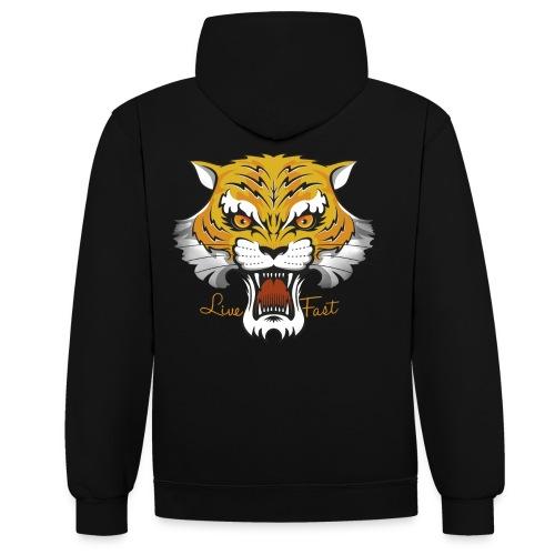 Tiger - Live Fast - Kontrast-Hoodie