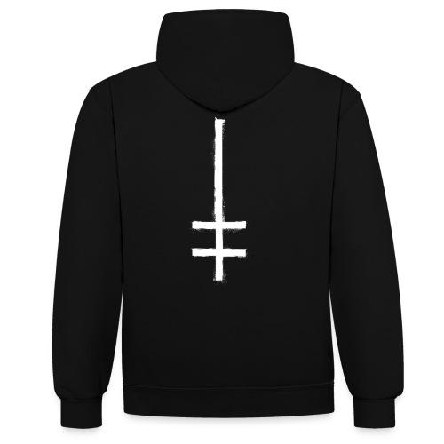 symbol cross upside down 1 - Kontrast-Hoodie