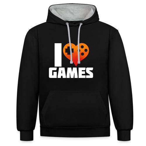 I <3 Games - Kontrast-Hoodie