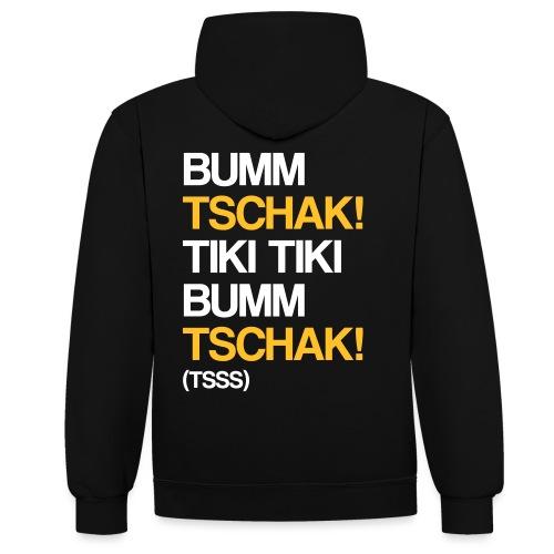 Bumm Tschak Tsss zweifarbig - Kontrast-Hoodie