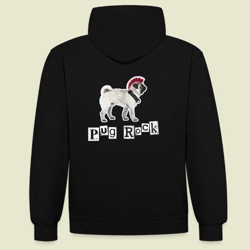 pug rock rot weiss - Kontrast-Hoodie