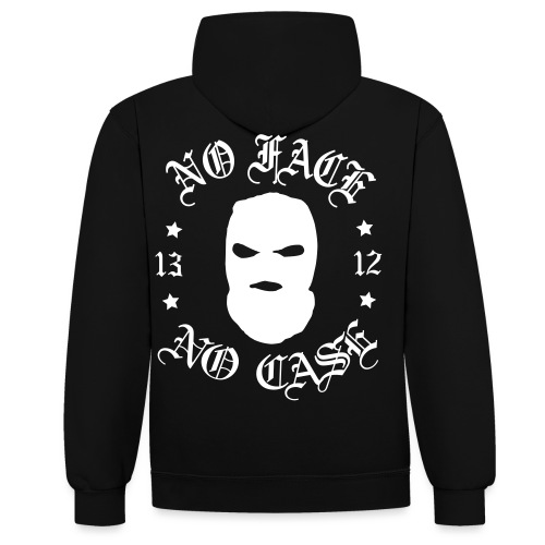 No Face, No Case - Skimask - pieni printti + selkä - Kontrastihuppari