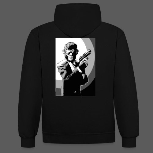 Affe Mit Waffe - Kontrast-Hoodie