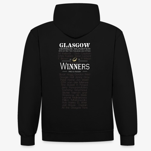 PRO12 Winners Glass - Contrast Colour Hoodie
