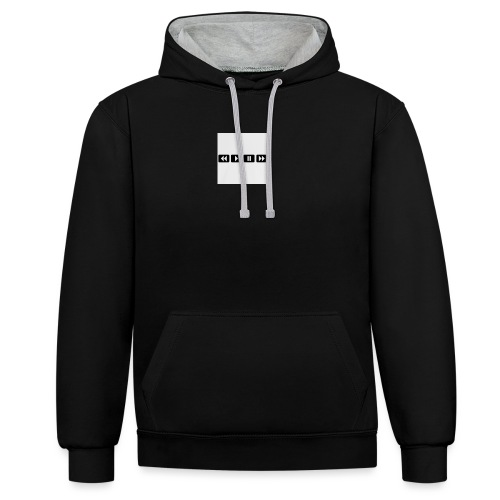 black-rewind-play-pause-forward-t-shirts_design - Contrast hoodie