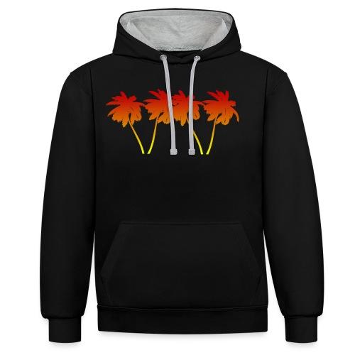 Palmen Sonnenuntergang Strand Sommer - Kontrast-Hoodie