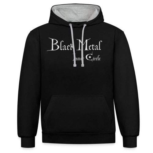 Black Metal Inner Circle, white - Contrast Colour Hoodie