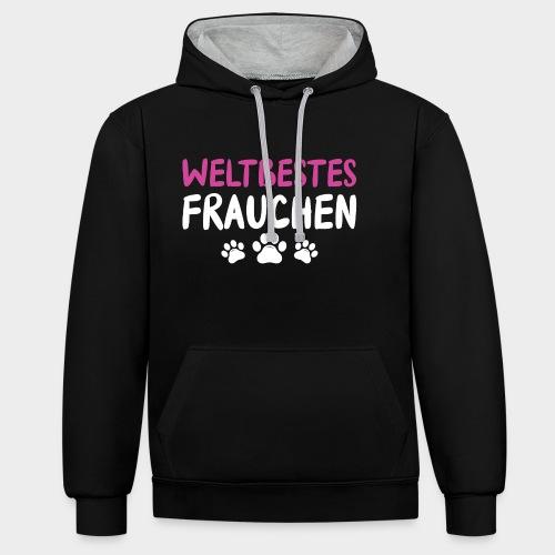 Weltbestes Frauchen Hundeliebe Hund - Kontrast-Hoodie
