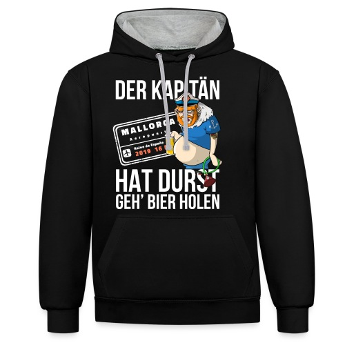 Bier T-shirt Der Kapitän hat Durst - Mallorca 2019 - Kontrast-Hoodie