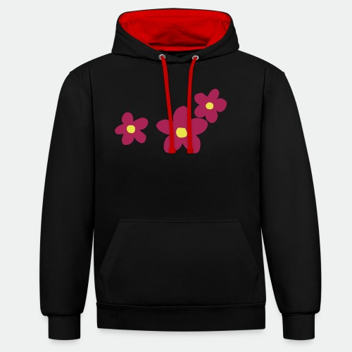 Three Flowers - Contrast Colour Hoodie