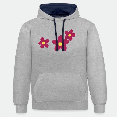 Three Flowers - Contrast Colour Hoodie