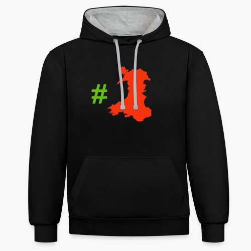 Hashtag Wales - Contrast Colour Hoodie