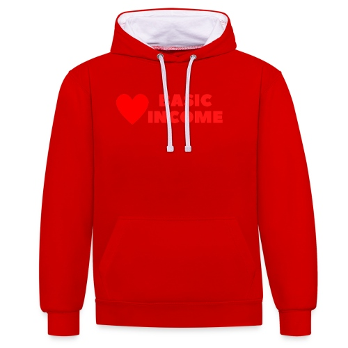 basic income red trans - Contrast hoodie