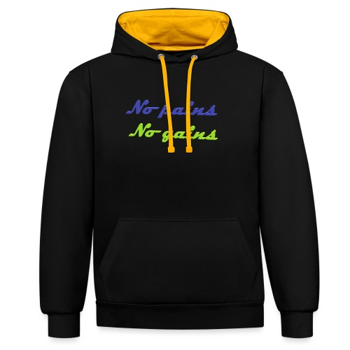 No pains no gains Saying with 3D effect - Contrast Colour Hoodie
