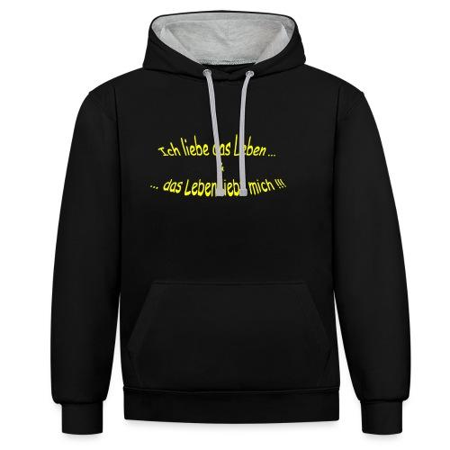 Ich-liebe-das-Leben-gelb - Kontrast-Hoodie