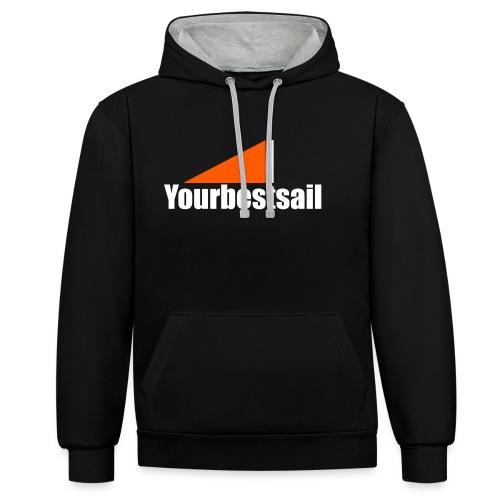 yourbestsail_white_orange - Sudadera con capucha en contraste