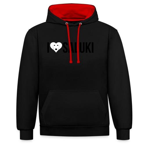 I Love Saluki - Felpa con cappuccio bicromatica