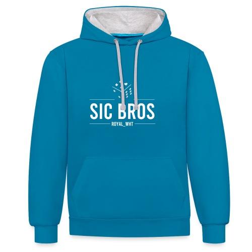 sicbros1 royal wht - Contrast Colour Hoodie