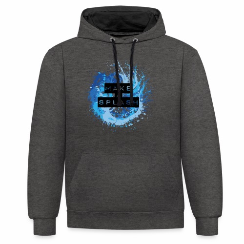 Make a Splash - Aquarell Design in Blau - Kontrast-Hoodie