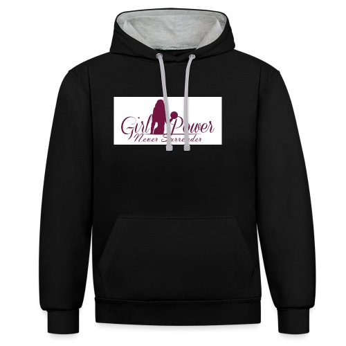 GIRL POWER NEVER SURRENDER - Sudadera con capucha en contraste