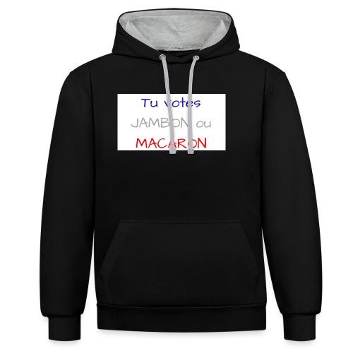 Tu votes JAMBON ou MACARON - Sweat-shirt contraste