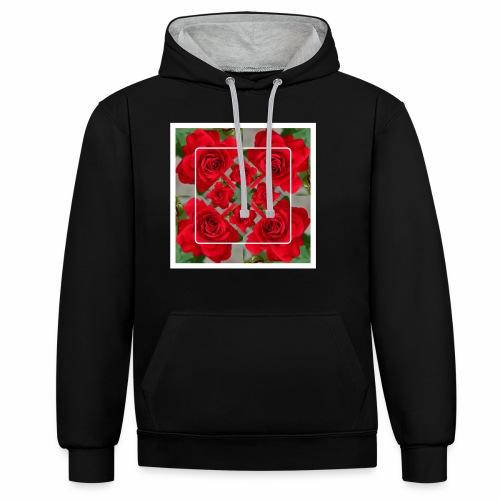 Rose Design - Kontrast-Hoodie