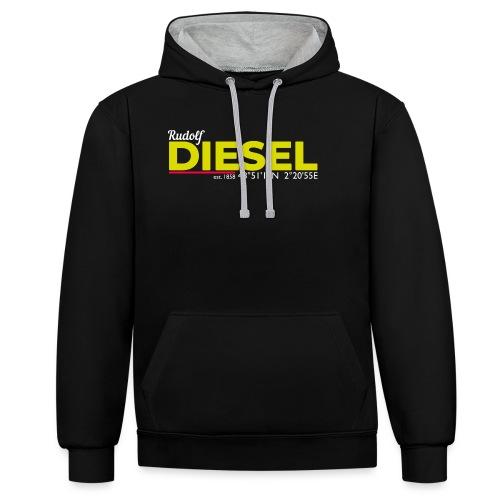 Rudolf Diesel geboren in Paris I Dieselholics - Kontrast-Hoodie
