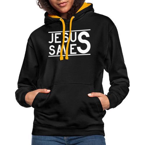Jesus Saves - Kontrast-Hoodie